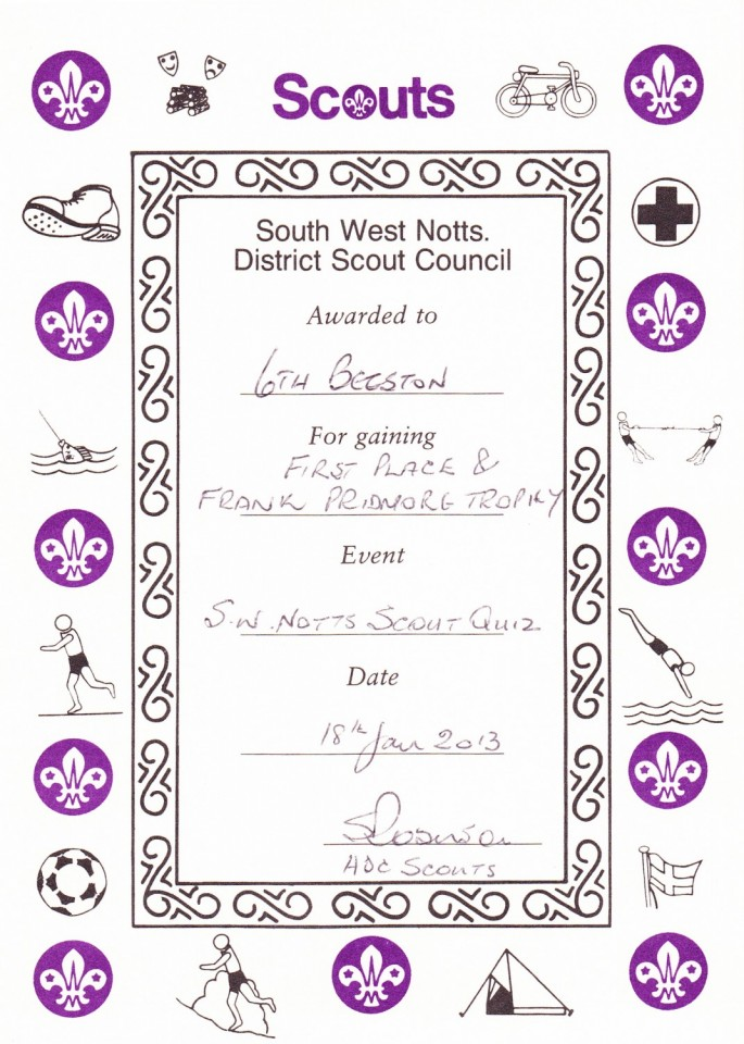 Quiz 2013 – 1st Place Certificate | 6th Beeston Scout Group